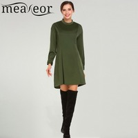 Meaneor Women Casual Dress 2018 Spring New Arrival Stand Collar Long Sleeve Back Zipper Solid Loose