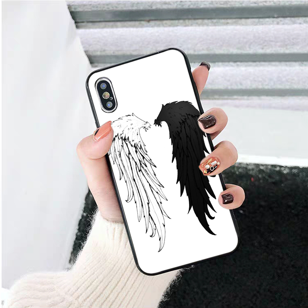 Lavaza Angel Wings Silicone Case for iPhone 5 5S 6 6S Plus 7 8 11 Pro X XS Max XR in Half wrapped Cases from Cellphones Telecommunications