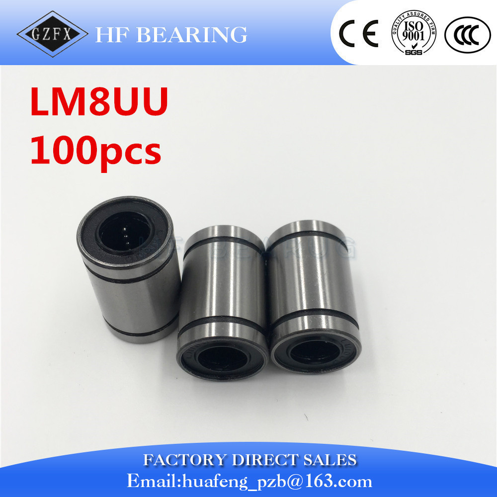 100pcs/lot LM8UU 8mm Linear Ball Bearing Bush Bushing Steel for CNC Router Mill Machine 1pc scv40 scv40uu sc40vuu 40mm linear bearing bush bushing sc40vuu with lm40uu bearing inside for cnc