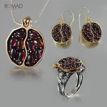 Romad Vintage Round Red Pomegranate Garnet Earrings For Woman Girl Gold CZ Stone Pendant Drop Jewelry