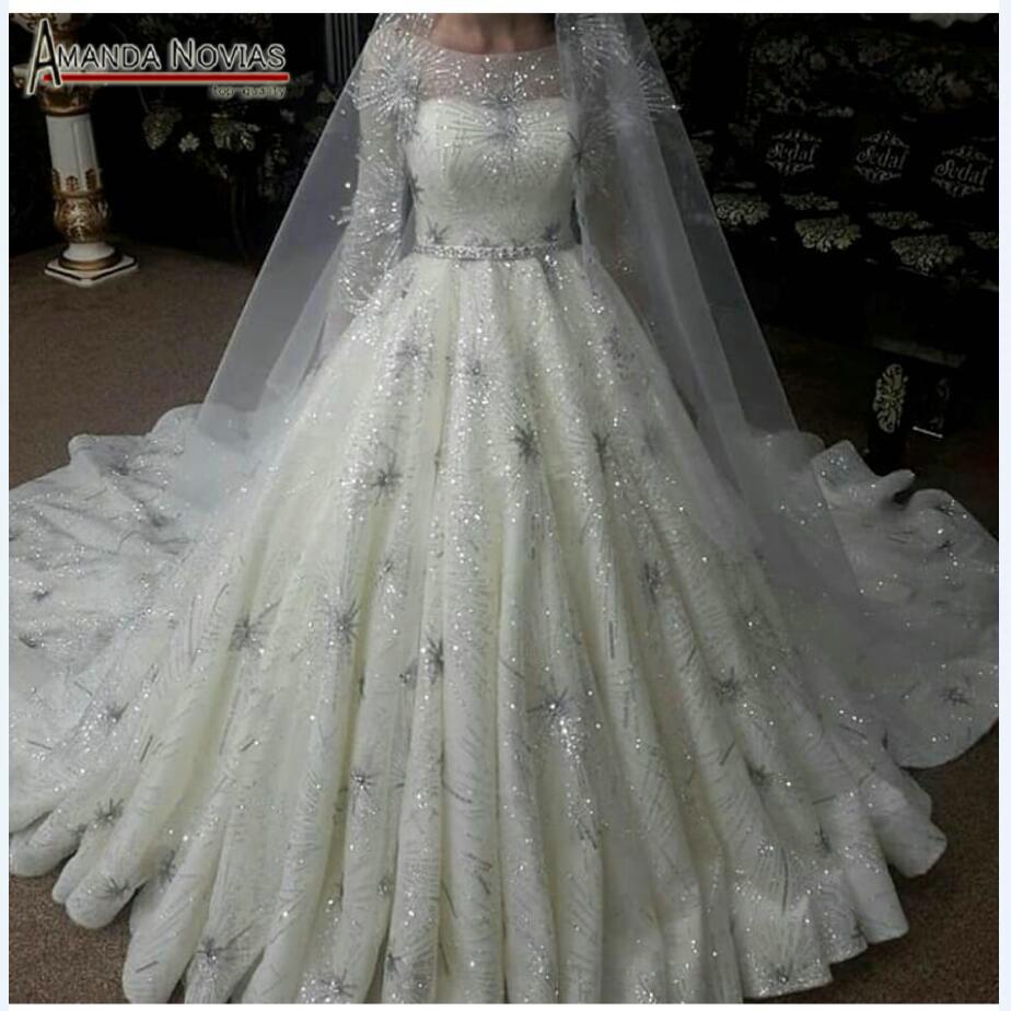 Bling Bling Wedding Dress Full Sequin Ball Gown Sleeves
