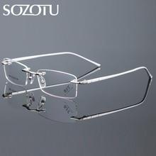SOZOTU Computador Óculos de Miopia Óptico Armação de óculos Óculos de Armação  Homens Coreano Para O Sexo Masculino Óculos Sem Ar.. d05bd7ab01