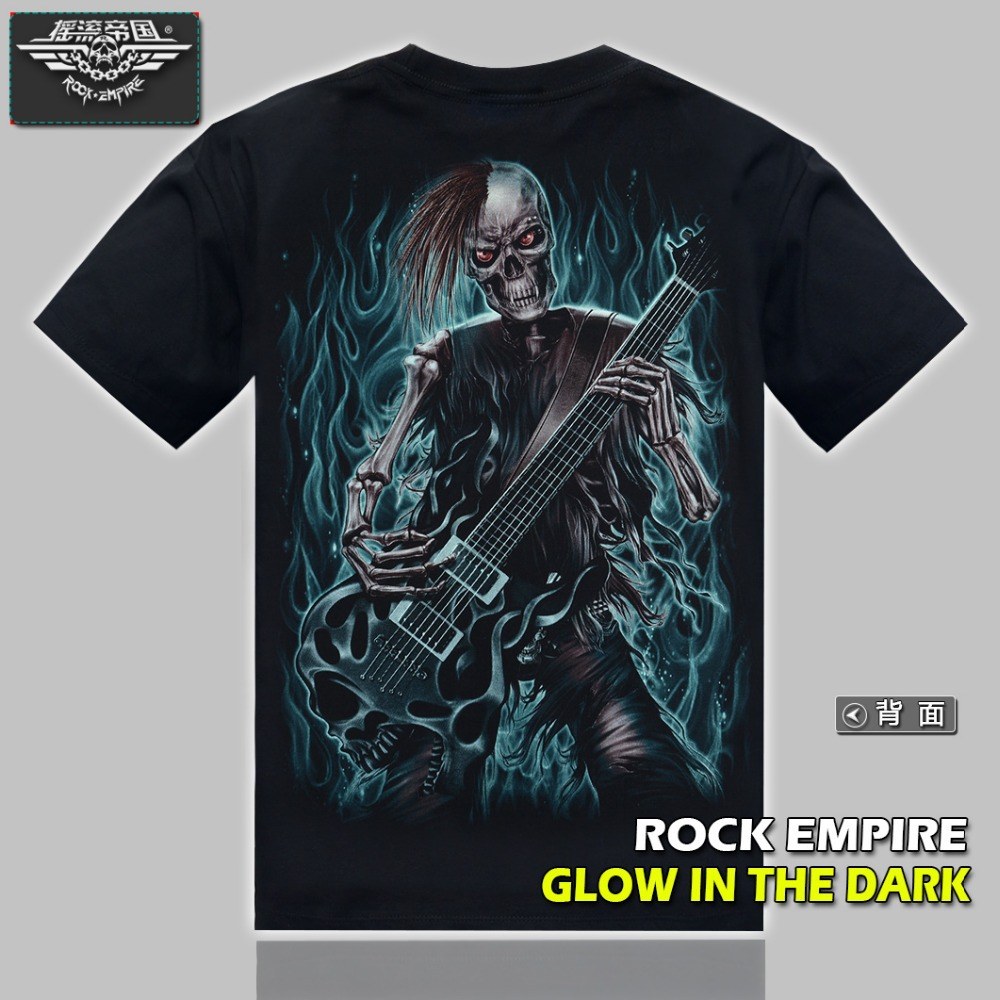 Fantasy Glow In The Dark T Shirt Skull Guitar Printing Rock Skull T