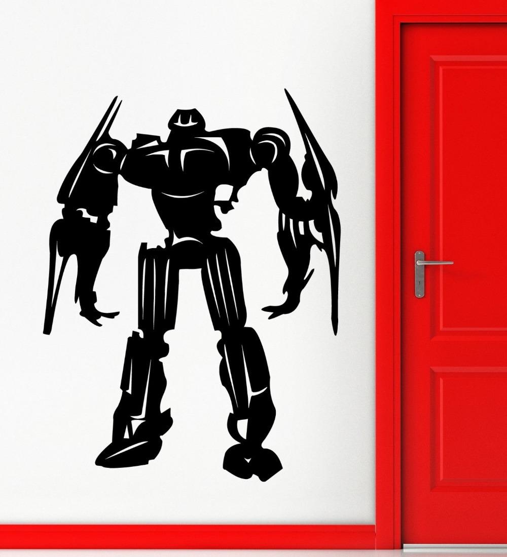 Robot-Sticker-Weapon-Decal-Muurstickers-Posters-Vinyl-Wall-Art-Decals-Pegatina-Quadro-Parede-Decor-Robot-Sticker