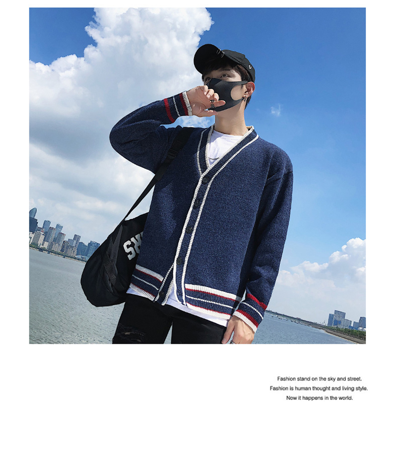 Check Button Cardigan Male Oversize Loose Streetwear (16)