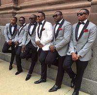 Tailor Made White Gray Wedding Suits For Men Black Shawl Lapel 2 Piece Groom Tuxedos Best Man Suit Bridegroom Groomsman Attire