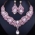 Свадебные Украшения KC Позолоченный Кристалл Water Drop Ожерелье и Серьги для Женщин Элегантные Свадебные Ювелирные наборы