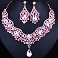 Wedding Jewelry KC Gold Plated Crystal Water Drop Necklace and Earring for Women Elegant Bridal Jewelry sets