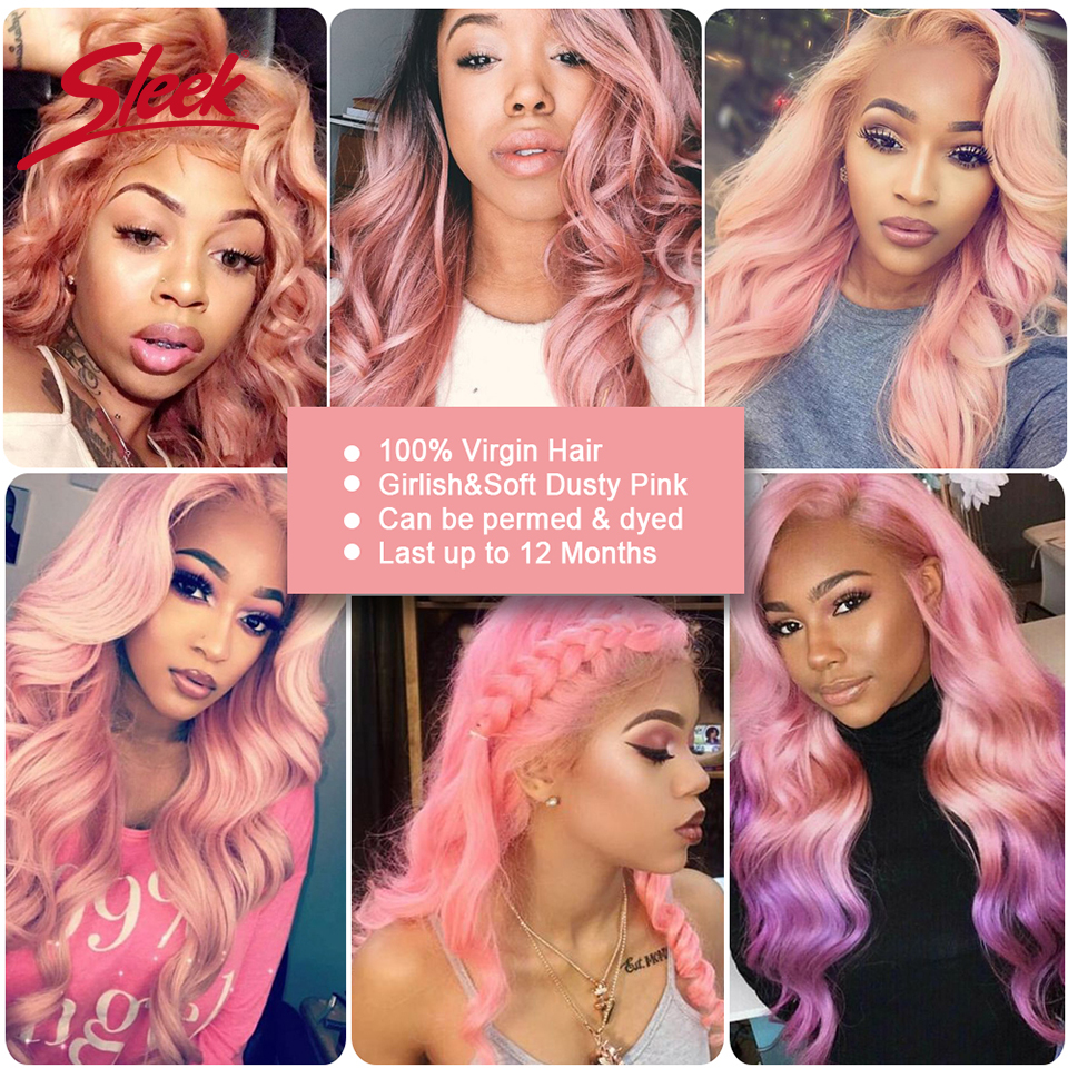 Sleek Colorful Hair 100 Virgin Remy Human Hair Brazilian Body Wave With Closure Honey Pink Color