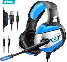 Gaming Headset fone de ouvido para PS4, Xbox, Nintendo, Interruptor de Áudio, PC Estéreo, fone de ouvido Com Cancelamento de Ruído, dazzling Luzes LED, Micphone