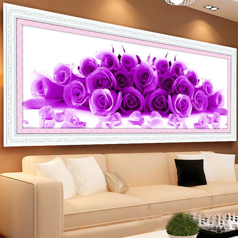 Handwerken 5 d Diamant Schilderen Kruissteek Diamanten borduurwerk Mooie blauwe paarse roos Bloemen rond Diamant maat 40 * 92 cm