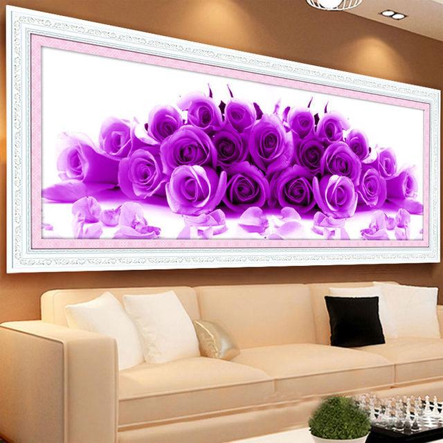 Needlework 5 D Diamond Painting Cross Stitch Embroidery Beautiful Blue Purple Rose Flowers Round
