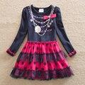 Розничная 2017 новый девушки одеваются vestidos infantil детская одежда детская одежда девушки с длинным рукавом цветочные платья девушки LH5478