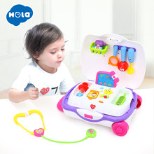 HOLA 3107 Baby Toys Kids Doctor Suitcase Pretend Play Toy with Music & Light Electronic Doctor Nurse Medical Play Toys Set(China)