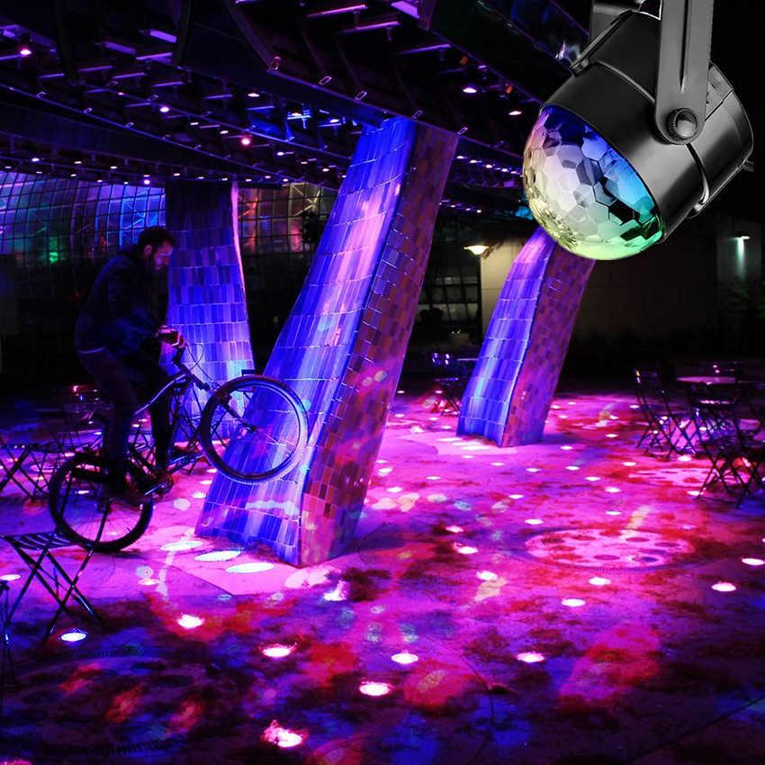 Звуковой активированный Вращающийся Диско-Шар вечерние проблесковая лампа свет 3 Вт RGB светодиодный сценический свет для рождественского дома KTV рождественское свадебное шоу