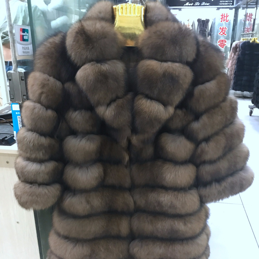 Suit collar Winter Real  Fox Fur Coat Thick Warm Imitation Sables Women's Light Brown Long Jacket The fox fur Coat