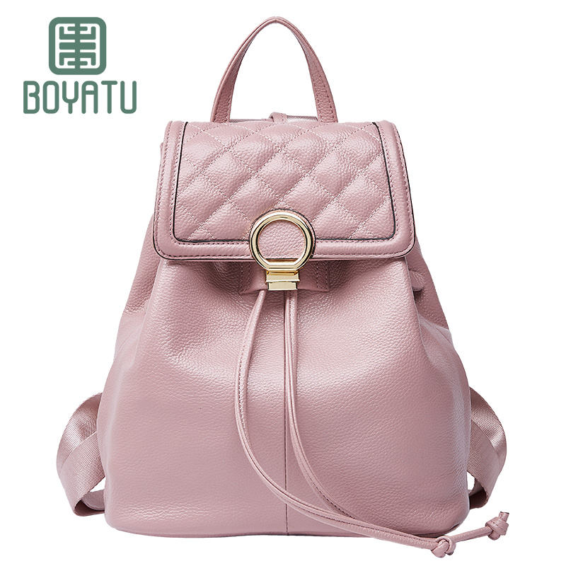 BOYATU Genuine Leather Feminine Backpack Female Mochila Rucksack Sac A Dos Vintage Bagpack Simple Shoulder Bag Women for Girls