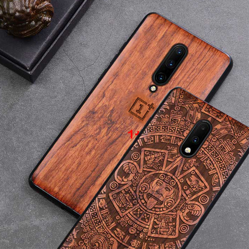 Carved Wood Case For OnePlus 7 Pro One Plus 7 Pro Shockproof Case TPU Bumper Cover For OnePlus 7 Case Wood Shell Oneplus7