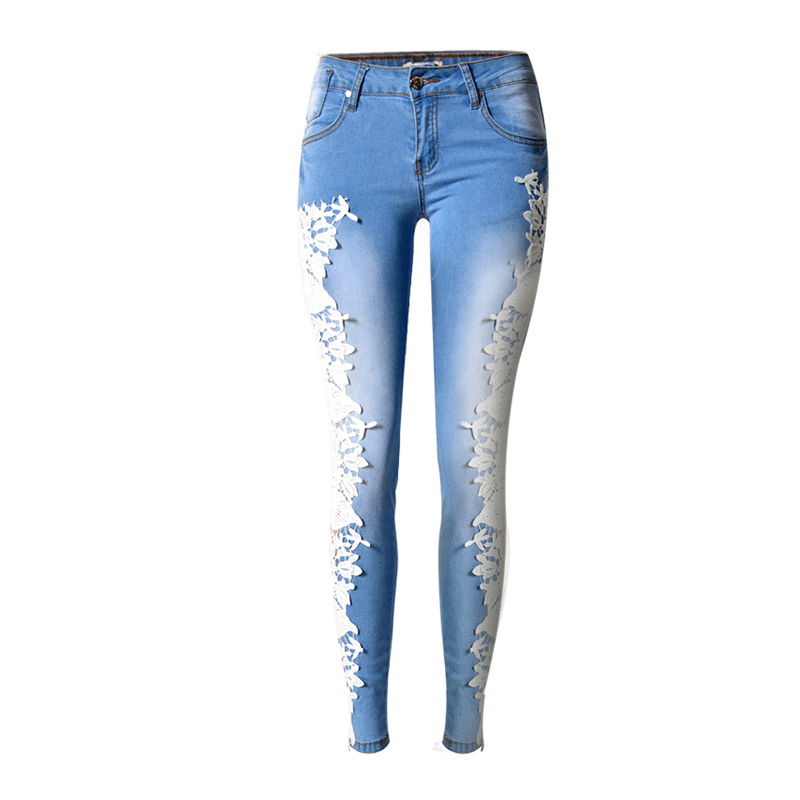 New Fashion Women Denim Pants Jeans Side Lace Spliced Empty Stripe Elastic Jean Trousers Sexy Ladies Denim Pencil Pants Leggings plus size pants the spring new jeans pants suspenders ladies denim trousers elastic braces bib overalls for women dungarees
