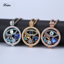 New 35mm coin necklace pendants set disc fashion women gift fit 33mm coin holder rhinestone eye style bule crystal 80cm chain