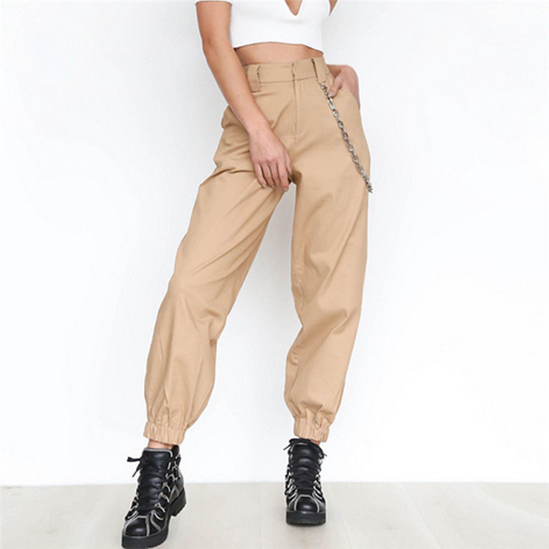 Hirigin Fashion Women High Waist Chain Hip-Pop Combat Cargo Harem Pants Leggings 2018 Lady Plus Size Stretch Trouser Femme