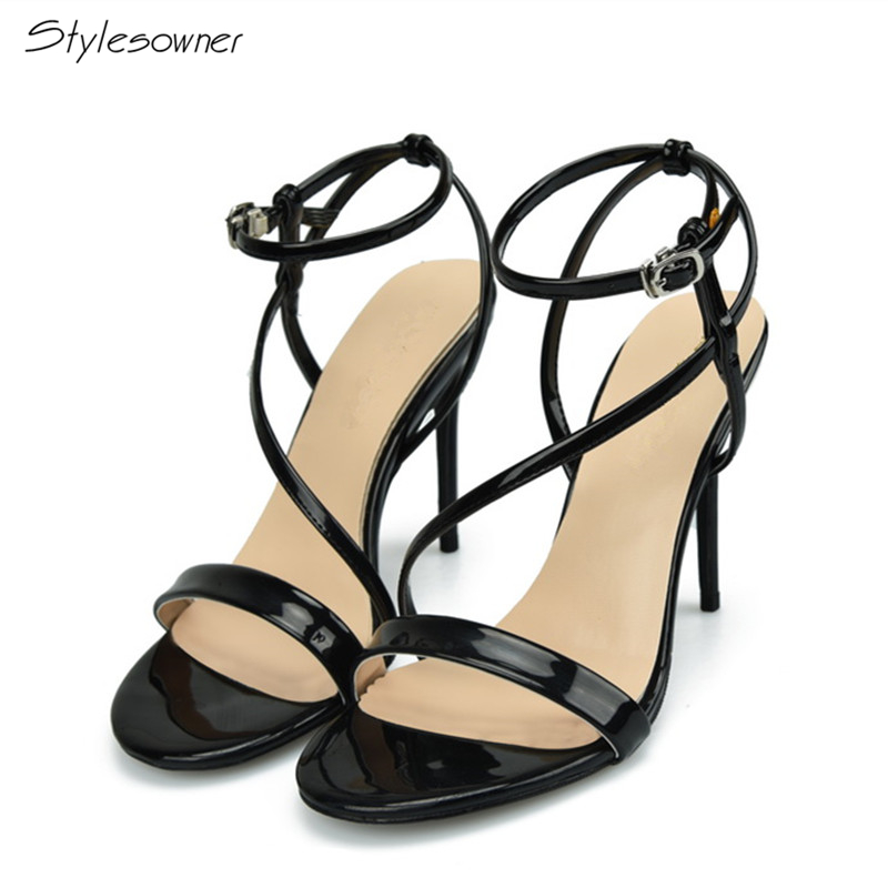 Stylesowner Summer Fashion Ankle Buckle S-strap High Heel Sandals 2018 Stiletto Thin Heels Shoes Patent Leather Plus Size45,46EU summer sexy ankle wrap buckle strap square heel super high heels patent leather fish mouth fashion four color ladies sandals