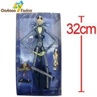 Cartoon NightMare Before Christmas Jack Skellington Action Figure Collectible Model Toy Christmas Gifts 32cm