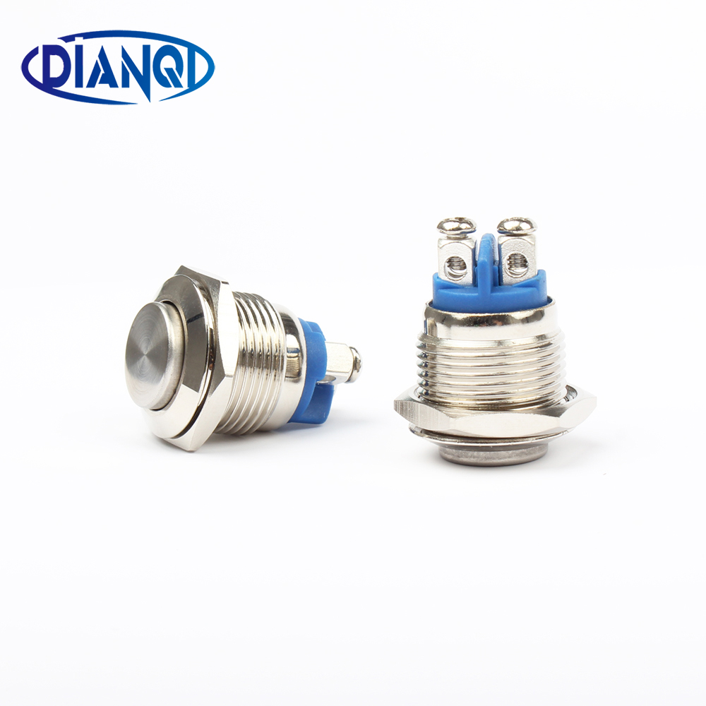 16mm metal push button waterproof nickel plated brass button switch press button reset 1NO high round momentary 16GT.F.L 5pcs 12mm 3v blue led metal momentary 4pin mini push button switch 1no 2a 250vac