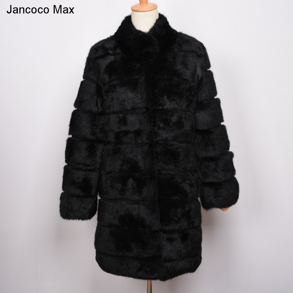 Jancoco Max Winter Real Rabbit Fur Jacket Warm Soft Long Fur Coat Women Christmas Dress S1675