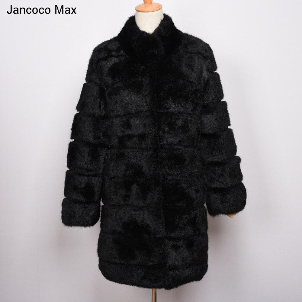 Jancoco Max 2018 новая зимняя реального кролика Меховая куртка теплые мягкие длинное меховое пальто Для женщин рождественское платье S1675