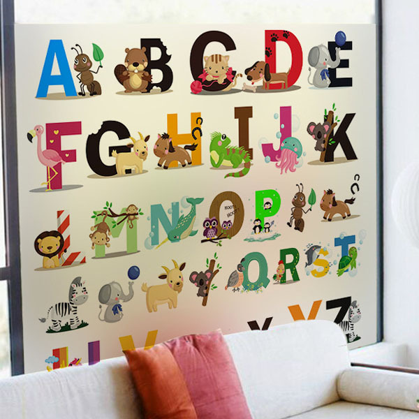 Alphabet Wall Stickers Animal Transpa Gl Film Window Sticker Removable Nursery Kids Baby Rooms Art Vinyl