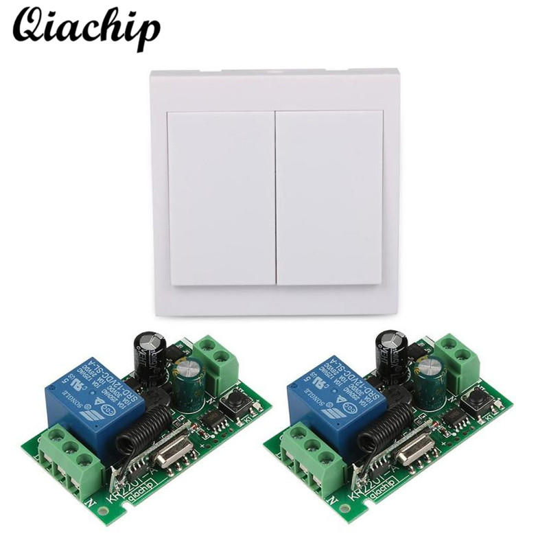 QIACHIP 86 Wall Panel 433 Mhz 2CH Remote Control Switch Transmitter Kit and Wireless RF Receiver AC 110V 220V Ceiling Lamp Light ac 220v rf wireless remote control switch 2 button wall transmitter receiver