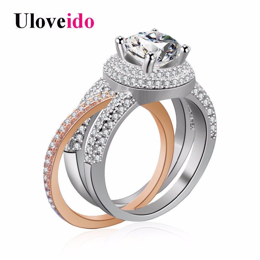 93bf81bd17 Configuração Uloveido 2 Ring Tone 2 Pcs Anéis de Harmonização para As  Mulheres No Topo Decoração