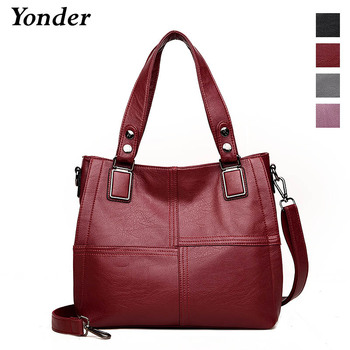 Bolso de mano Yonder de cuero genuino para mujer, bolso de gran capacidad, bandolera de hombro grande, bandolera de mujer vino/gris