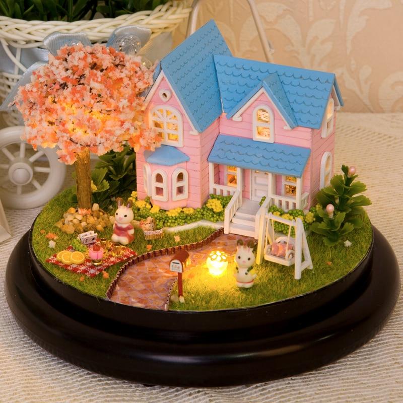 Perabot DIY Doll House Wodden Miniatura Doll Houses Furniture Kit - Anak patung dan aksesori - Foto 5