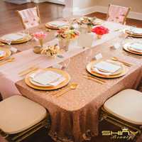 90x156inch Rose Gold Sequin Tablecloths Rectangle Sparkly Sequin Table Linen For Wedding Table Decoration A