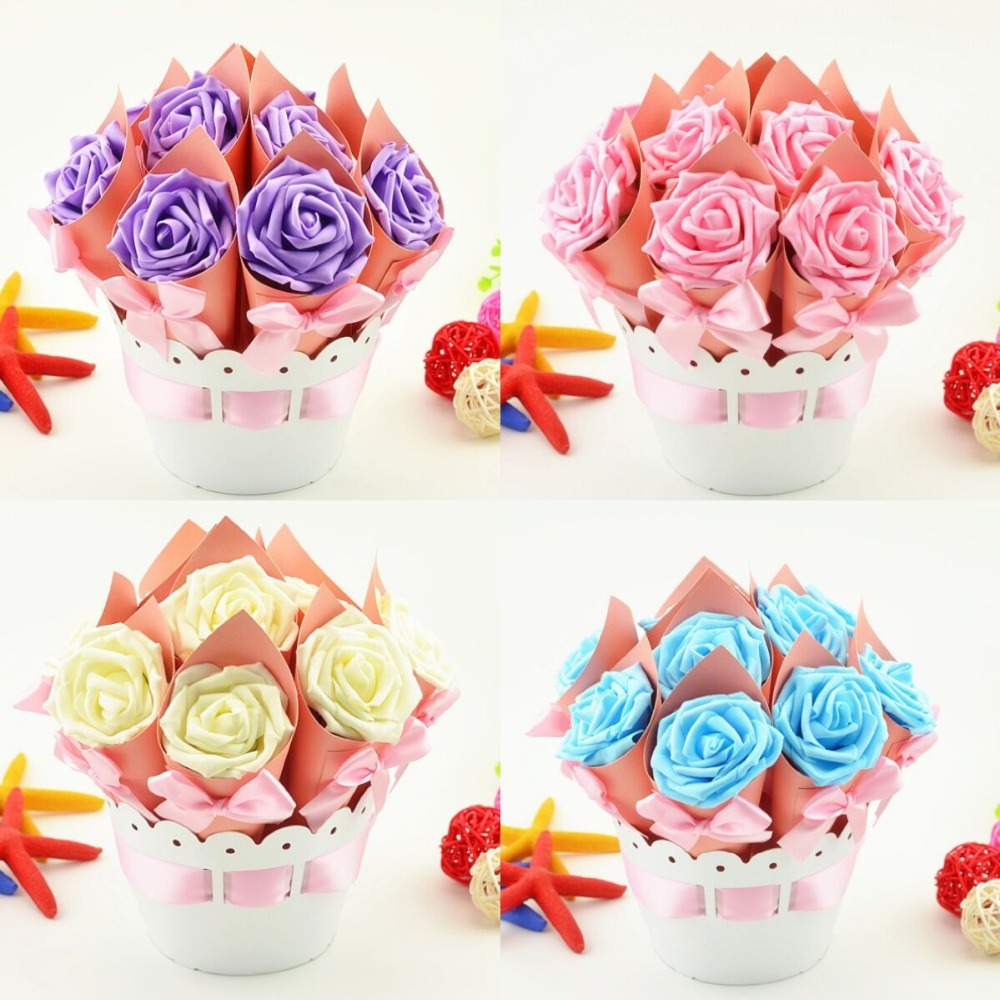 4 Sets Creative Flower Pot Rose Ice Cream Cone Candy Boxes Wedding ...