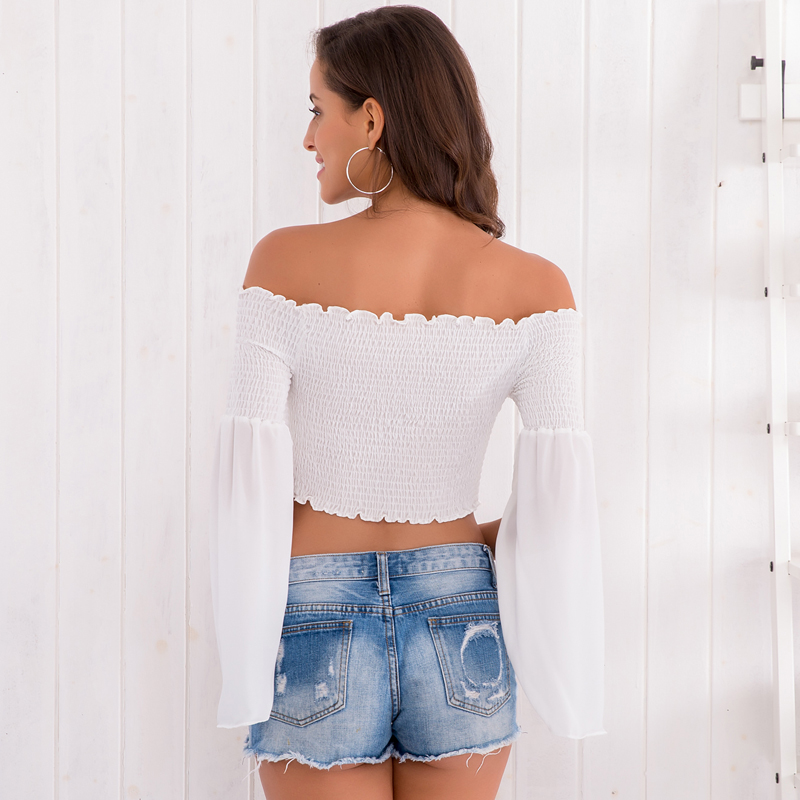 4c7642fc94d17 Jessie Vinson Off Shoulder Lace up Chiffon Blouse White Slash Neck Flare  Sleeve Pleated Crop Top Spring Summer Sexy Women Shirts-in Blouses   Shirts  from ...
