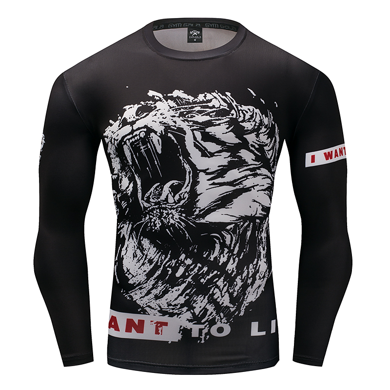 2017 anime lion men long sleeve quick dry workout for Compressed promotional t shirts