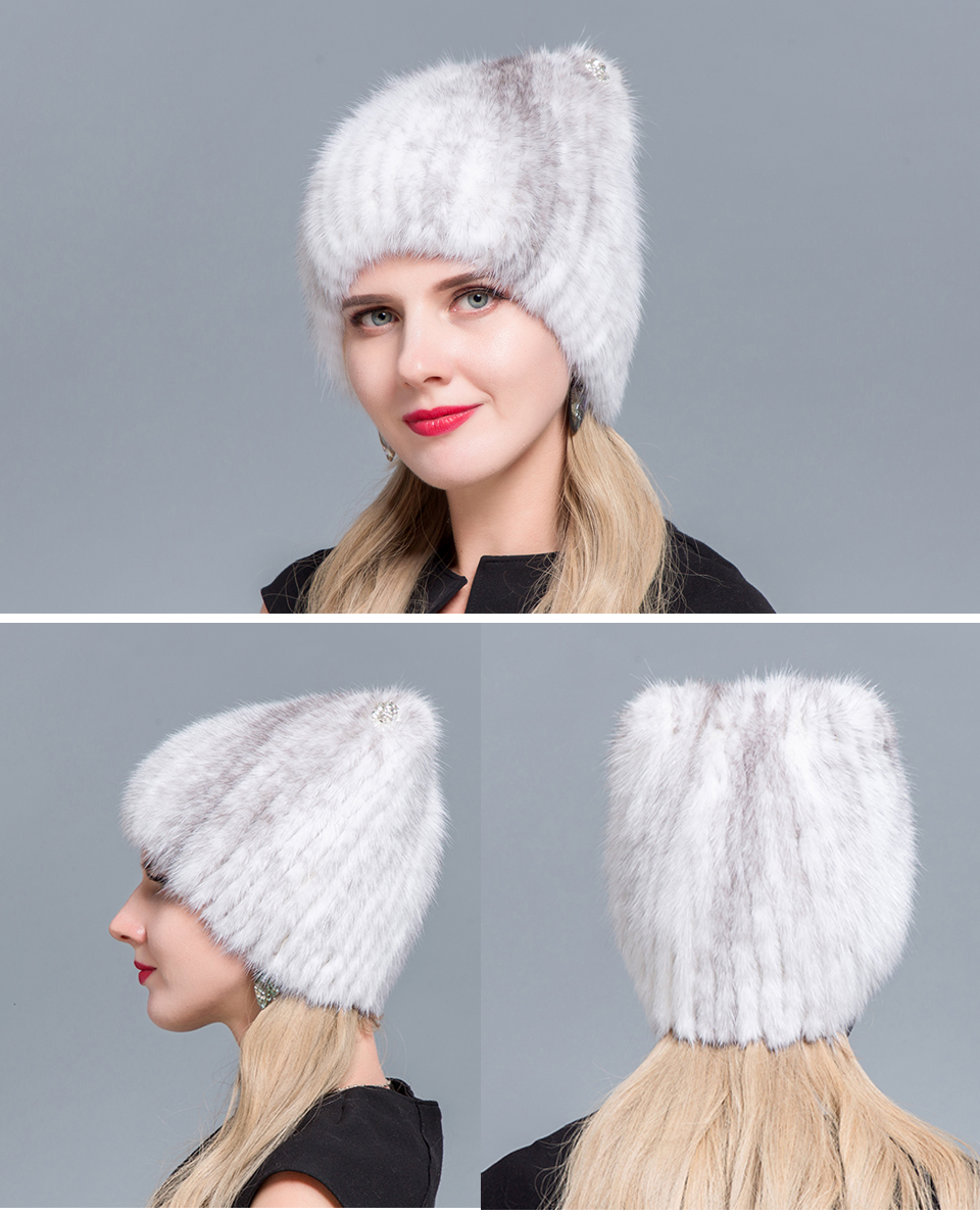 Middle aged women in the winter: mink fur women's knitted sweater hat new fashion European and American cat style ski caps 17