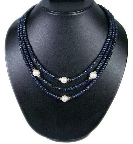 Newest Natural Sapphires Rhinestone Natural Freshwater Pearl Necklace,3Rows Fashion Birthday Chirtsmas Gift For Women