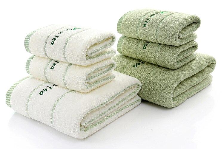 Alta qualità di lusso 100% tè verde tessuto di cotone bianco asciugamano set di asciugamani da bagno per adulti/bambino 1 pz asciugamano viso 2 pz per bagno