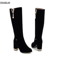 CDAXILAN new arriivals boots women knee-high boost sexy high heels boots round toe spring autumn high boots ladies black shoes 2018 spring autumn newest women boots high thick heels knee high square toe rivet decoration women leather dress boots black