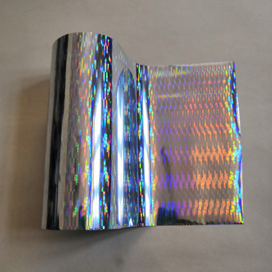 Hot stamping foil  holographic foil silver thick line pattern hot press on paper or plastic heat transfer film|Office Adhesive Tape| |  - title=
