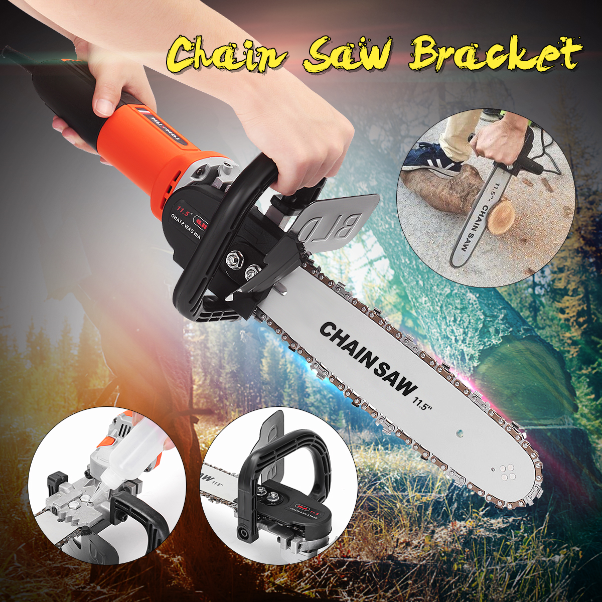 Drillpro DIY High Carbon Steel 11.5 Inch Chainsaw Bracket Electric Saws Changed Angle Grinder Into Chain Saw Woodworking Tool electric saws 11 5 inch chainsaw bracket set high carbon steel for electric angle grinder to chain saw woodworking power tools