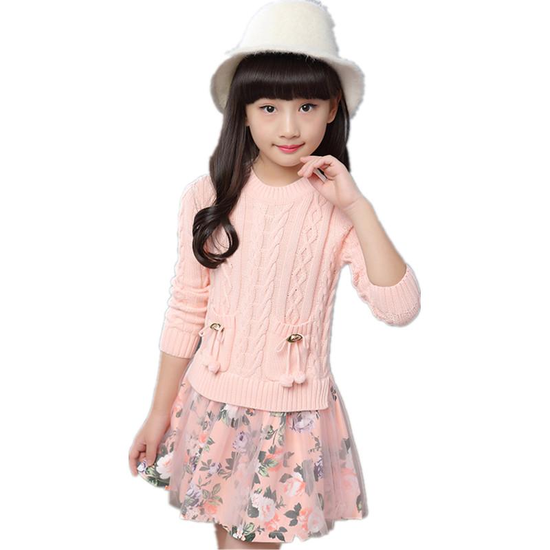 Attractive Pull A La Mode #5: À La Mode Floral Plissée Robe Pull Pour Fille 2017 Nouveau Chaud Et Doux  Enfants Fille