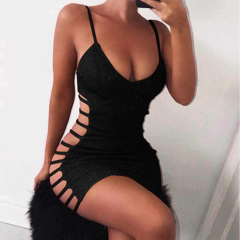 Sexy Bodycon Đầm Không Tay Cổ V Spaghetti Dây Đeo Co Giãn Trọn Gói Hông Ngắn Nữ Câu Lạc Bộ Đầm Đầm Vestido