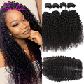 Peruvian Virgin Hair With Closure 4 Bundles With Closure Kinky Curly Virgin Hair With Closure Curly Human Weaves With Closure 7A