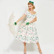 Sisjuly старинные 1950 S до середины икры светло-абрикосовый женские Цветочный принт платье с плеча 2017 Для летних вечеринок платье ретро платья