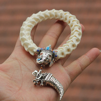 Natural Snake Bone Beads Bracelets Tibetan Silver Elephant And Tooth With Chinese Cloisonne Vintage Style Beaded